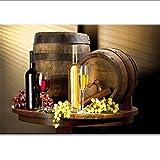 HHLSS Estilo nórdico 60x80cm sin Marco Botellas de Vino Modernas de bodegón Vino Tinto y champán con Vidrio Fruta y Barril Imagen para Cocina
