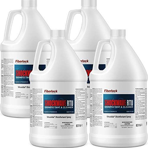 FIBERLOCK Shockwave RTU Disinfectant Cleaner, Sanitizer, and Virucide - 8316 C4 - 1 Gallon (4-Pack)