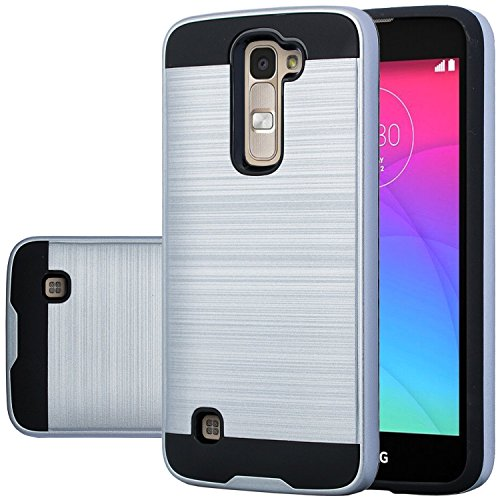 ZASE Case for LG K7 (T-Mobile MetroPCS) LG Tribute 5 (Boost Mobile) Shock Absorption Impact Resistant Dual Layer Armor Defender Protective Cover Slim Fit (Hybrid Shine Silver)