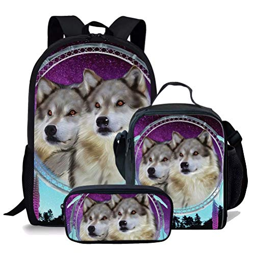 chaqlin Animal Backpack for Kids Boys Girls Teens Durable 17 Inch School Bookbags Wolf Print Schoolbags Set 3pcs Lunch Totebags Pencil Case Large Rucksack for Teenager Adult