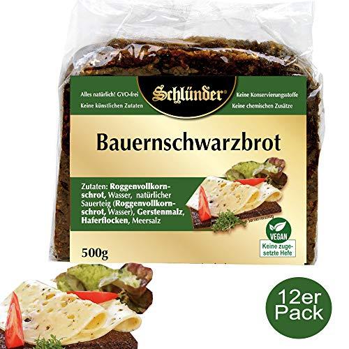 Schlünder Bauernschwarzbrot - Schwarzbrot aus Roggen-Vollkorn, 100% natürlich & ohne Konservierungsstoffe oder Süßungsmittel, vegan, reich an Ballaststoffen, Bauernbrot made in Germany, 12x500g