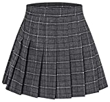 Girls' Plaid Pleated School Uniform Skort Skirt for Kids Toddlers, Little and Big Girls Grey, Tag 120 = 4-5 Years