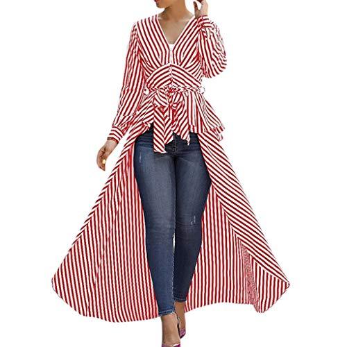 Linkay T Shirt Damen Langarm BluseUnregelmäßiger Streifen Tops Krawatte Oberteile Mode 2019 (Rot, X-Large)