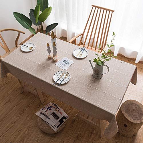 Kuingbhn Mantel para de Cocina Salón Rectangular Lino de algodón Reutilizable Lavable Diseño de Comedor decoración del Hogar Cuadros de café 135 × 135cm