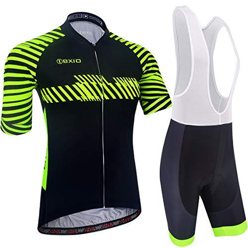 BXIO Abbigliamento Ciclismo Uomo, Asciugatura Veloce Maglia Ciclismo con Striscia Riflettente e Salopette Mavic Ciclismo, Estive, Nero-Verde Fluo (211, Salopette)