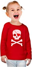 Pirate Skull & Heart Valentine's Day Toddler Girls Fitted Long Sleeve T-Shirt