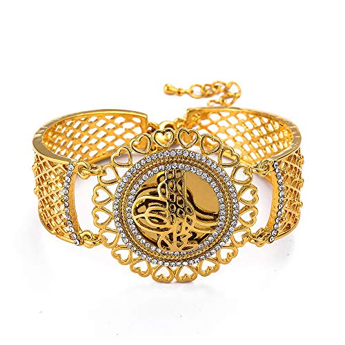 Vintage Gold Farbe Blume Breite Manschette Armreif Muslim Islam Hochzeitsgeschenk Naher Osten Schmuck Armbänder Arab Allah Armband