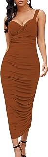 Maketina Women Sexy Backless V Neck Straps Sleeveless Ruched Bodycon Midi Dress