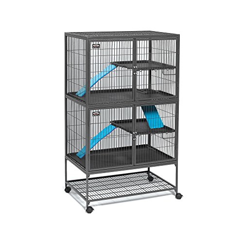 "MidWest 550-24 Deluxe Ferret Nation Double Unit Ferret Cage (Model 182) Includes 2 Leak-Proof Pans, 2 Shelves, 3 Ramps w/Ramp Covers & 4 Locking Wheel Casters, Measures 36"" L x 25"" W x 62.5"" H Inches"