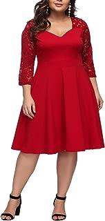 FeelinGirl Women's V-Neck Stitching Lace Plus Size Dress XL-4XL