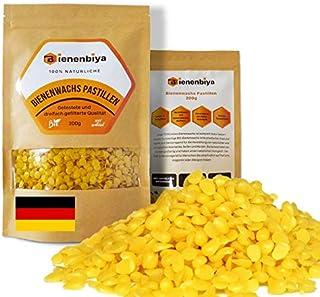 Bienenbiya 100% Reine Bienenwachs Pastillen ohne Zusatzstoffe, 200g natürliches Bio Beeswax für Salben,Kosmetika,Seifen,Bienenwachstücher,Kerzenherstellung und Leder-/Holzpflege