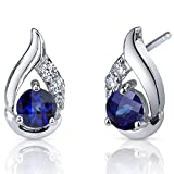 Radiant Teardrop 1.50 Carats Created Blue Sapphire Round Cut CZ Accent Earrings in Sterling Silver