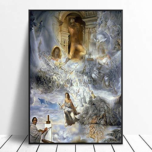 hetingyue Marco de Pared Modular un Lienzo Pintor Moderno Figura Abstracta decoración del hogar póster Fondo de cabecera Pintura sin Marco 60X85CM