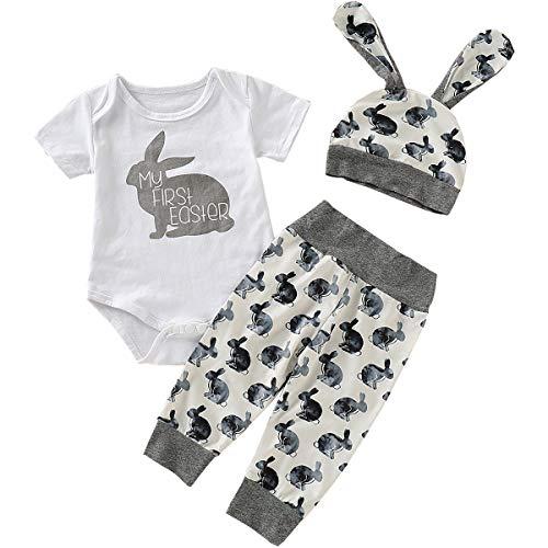 AGQT Baby Boy Girl Osterhasen Outfit Karneval Meine ersten Oster Outfits Bunny Romper + Hosen + Kaninchenohren Hut Grau 0-3 Monate