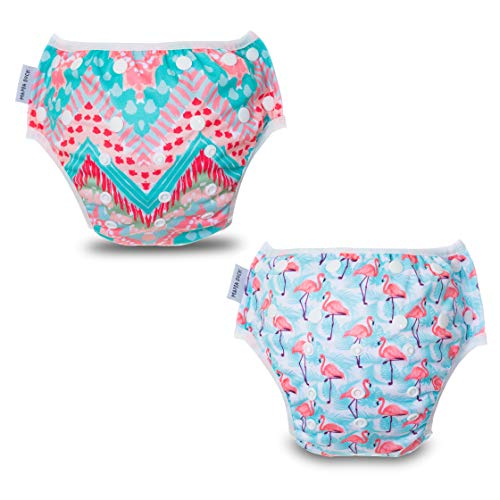MAMA DUCK Reusable, Adjustable and Washable Baby Swim Diaper. (8-35lbs) 2 Packs Dark Pink