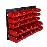 Bigbutterfly 30 Piezas Estantería de Bricolaje para Pared Cubos de Guardado con Paneles de Pared Rojo