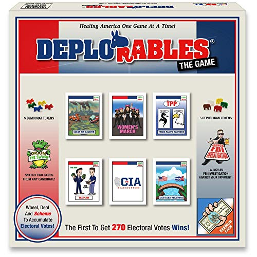 Deplorables Bipartisan Game: Election Game for Game Nights. Watch Video! Get 270 Electoral Votes to Win! Drain The Swamp, Dodge The FBI, Political Game, Social Game, Educational History Game