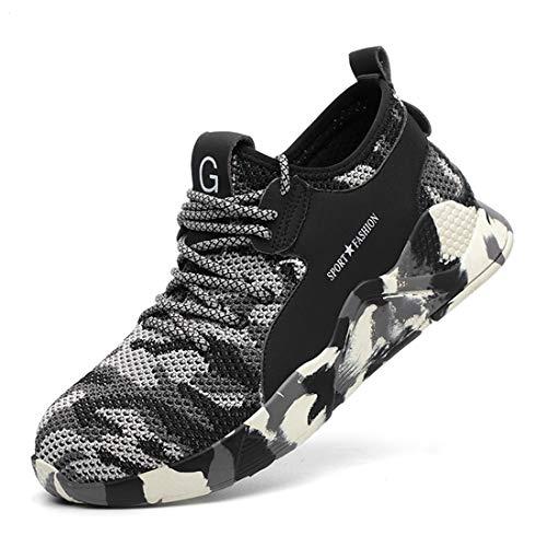 [tqgold] 安全靴 作業靴 スニーカー 軽量 鋼先芯 通気性 耐摩耗 耐滑ソール メンズ レディース ハイカット ブーツ 黒 作業 靴 仕事 工事現場 疲れない おしゃれ あんぜん靴 (グレー 23.0cm)