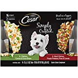 CESAR SIMPLY CRAFTED Adult Dog Food Meal Topper Variety Pack, Chicken, Carrots, & Green Beans and Beef, Chicken, Purple Potatoes, Peas & Carrots, (16) 1.3 oz. Tubs