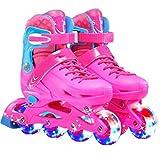 Kids Boys and Girls Adjustable Inline Roller Skates Full Flash Children Adult Men