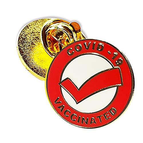 Vaccinated COVID-19 Coronavirus enamel Lapel Pin - Covid19 Badge tag id record gold plated lapel cdc pin - Brooch Vaccinated memorial for bag shirt - medical alert symbol USA pin (1)
