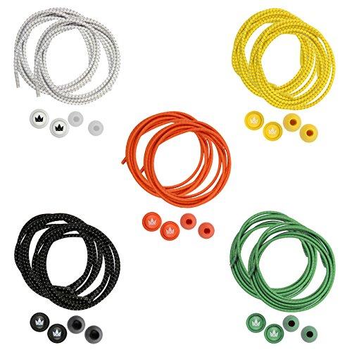 The Friendly Swede 5 Paar elastische Schnürsenkel - schleifenloses Schnellschnürsystem, ideal als Sportschnürsenkel (Gelb/Orange/Grün/Weiß/Schwarz)