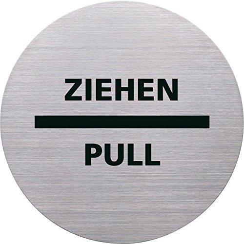 """Helit H6271800 - Cartello con scritta """"Ziehen Pull"""" (tirare), diametro 115 mm, autoadesivo, in acciaio INOX"""