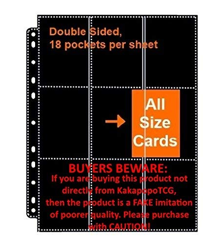 KakapopoTCG 30 x Double Sided 9 Pocket Page Black ( Total 18 Pocket ) for Ultra Pro Binder Trading Cards for Storing Mtg Magic Yugioh Wow Match Attax Pokemon