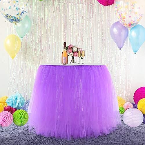 DishyKooker Einfarbig Tisch Rock Dekoration für Hotel Hochzeit Weihnachtsfeier 80cmx91,5 cm Lila Haushalt
