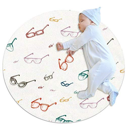 Alfombra redonda para niños redonda redonda alfombra circular alfombra redonda alfombra de suelo alfombra lavable a máquina alfombra vintage retro gafas patrón