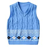Chaleco de Punto Suéter Infantil Niño Niña Cuello en V Estampado Jersey Pullover Sin Manga Azul 120