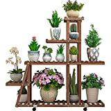 MASTER TRADE Wooden Large Plant Stand Shelf with Wheels for Indoor Outdoor, 5...