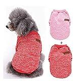Abrlo - Juego de 2 suéteres para perros, gruesos, calientes, clásicos, de punto, para perros pequeños, medianos y grandes