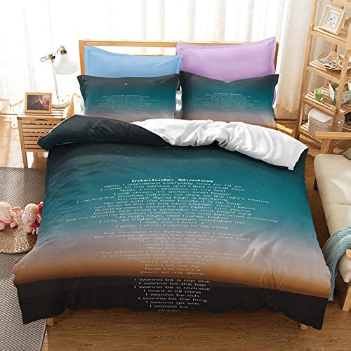AMCYT BTS Duvet Cover Bedding Set - Duvet Cover and Two Pillow Cases Microfibre 3D Digital Print Three-Piece Bedding (A10,180 x 210 cm)