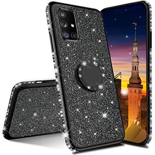 MRSTER Funda para Samsung S20 FE, Glitter Bling TPU Bumper Brillante Diamante Protector Case con Soporte Ring Kickstand de 360 Grados Carcasa para Samsung Galaxy S20 FE 5G. GS TPU Black