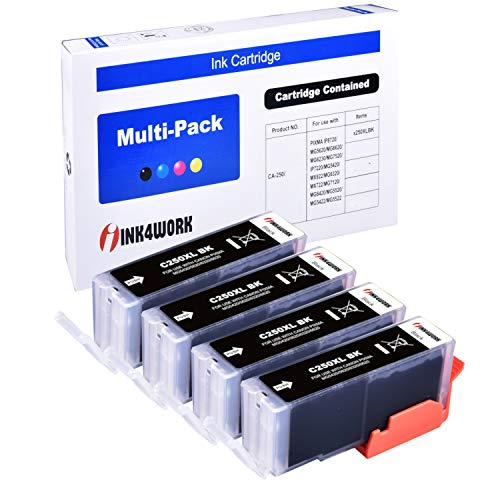 INK4WORK 4 Pack PGI-250XL PGI250 XL Compatible Ink Cartridge Replacement for Canon Pixma IP7220 MG5420 MG6320 MX722 MX922 (Big Black)