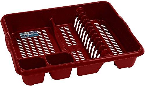 Wham Abtropfgestell für Teller und Besteck, Rot, 9 x 46,5 x 38cm