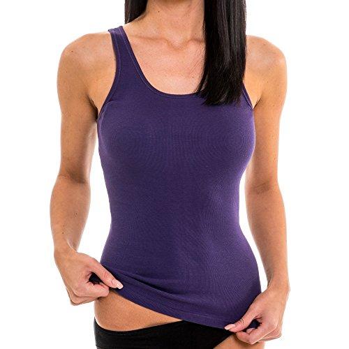 HERMKO 1310 Damen Unterhemd aus Reiner Baumwolle, Größe:40/42 (M), Farbe:lila