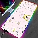 YEE RGB Gaming Mouse Pad Anime Pink Sailor Moon Gamer PC Ordenador Alfombra Estera Estera Teclado Accesorios Chica Mousepad 900x400mm (Size : 800x300mm)