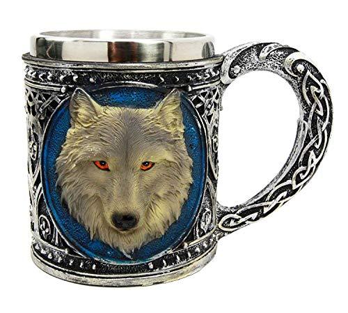 EEYZD Taza de Resina mágica Tribal Celta de Lobo Gris Alfa de 18,6 oz con Borde de Acero Inoxidable, Taza de café y Cerveza (550 ml / 18,6 oz)