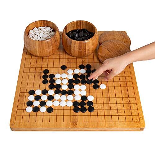 ADLOASHLOU Chinesisches Schach,Schach aus schwerem Bambus,Go-Gobang,Go Schach Brettspiel Set,Schach Go Set,Inklusive Schalen und Steine, klassisches chinesisches Strategie-Brettspiel(19x19 Gitter)
