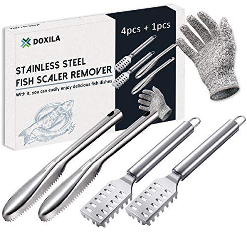 Fish Scaler, DOXILA Fish Scaler Remover with Stainless Steel Sawtooth Easily Remove Fish Cleaning Scales Kit Catfish Skinner Pliers and Cut Resistant Glove