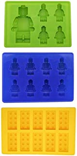 Xubox Silicone Ice Cube Trays, 3 Pack Easy Release Ice Cube Tray Set with 23 Ice Cubes Molds, Perfect for Whiskey Cocktail Soft Drinks, Reusable and BPA Free - Add Fun to Party Holiday for Lego Lovers