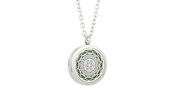 Aromatherapy Jewelry Essential Oil Diffuser Pendant Sterling Silver Locket Necklace Yoga Jewelry