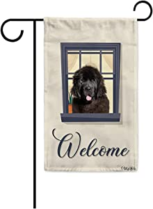 BAGEYOU Welcome to Our Home Dog Garden Flag Newfoundland on The Window Decor Home Banner for Outside 12.5x18 Inch Print Both Sides