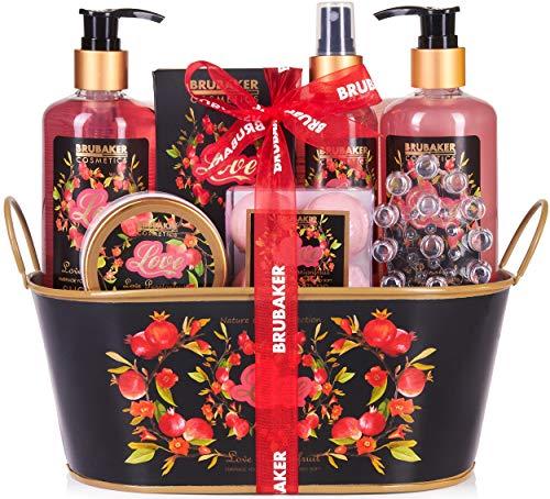 BRUBAKER Cosmetics - Coffret de bain & douche - Fruit de la passion/Love - 12 Pièces - Bassine vintage décorative - Idée cadeau