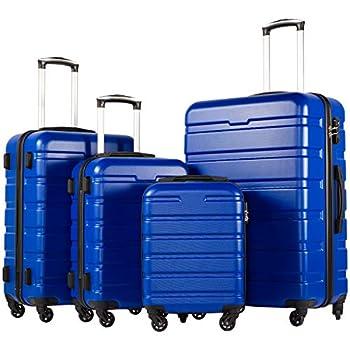 COOLIFE Luggage 4 Piece Set Suitcase Spinner Hardshell Lightweight TSA Lock  family set-blue1