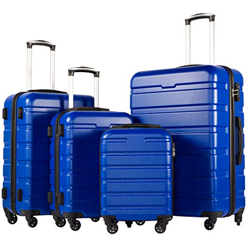 Coolife Luggage 4 Piece Set Suitcase Spinner Hardshell Lightweight TSA Lock (Family Set-blue1)