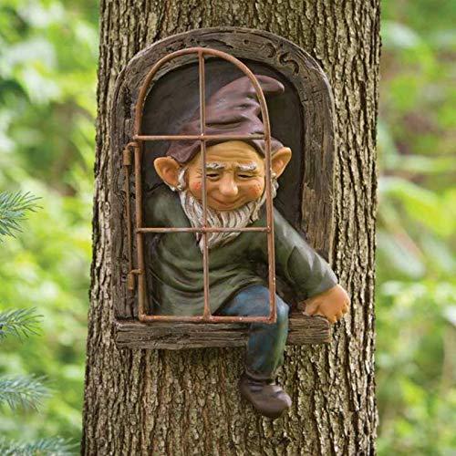 BIUDUI Statua da giardino Gnom Statua dell'elfo della porta dell'albero di Gnom Scultura da parete in resina, decorazione di fata Gnom Hugger 3D, decorazione divertente per finestre