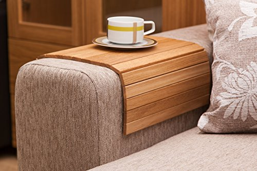 "Natural Oak Sofa Side Tray Table - Wood Armrest Tray – Sofa Tray Table - Surface For Coffee/Meals/Laptop - 22.5"" x 14"""